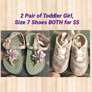 Size 7 Toddler Girl Shoes Glitter Sneakers Sandals